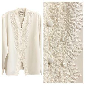 VINTAGE  Intricate Crochet Victorian Era Blouse